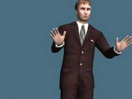 Businessman standing rigged 3d model