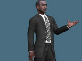 African businessman rigged 3d model