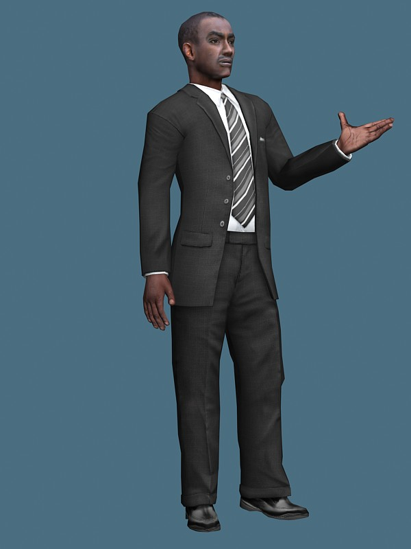 African businessman rigged 3d model 3ds max,Maya files ...