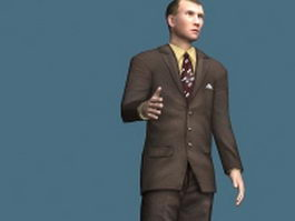 Rigged business man 3d model