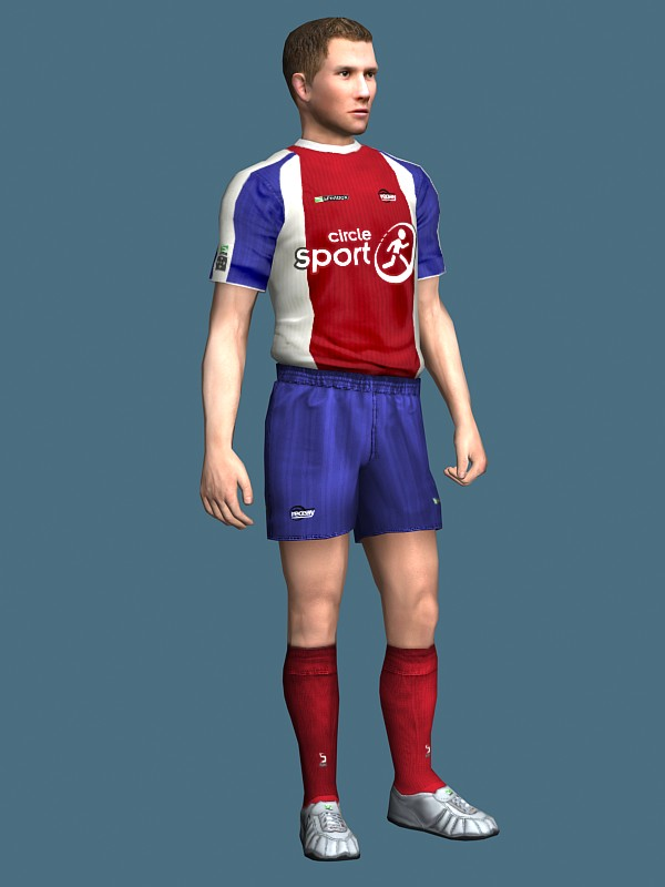 d56e6f3726 3D human model of a soccer player rigged in standing pose. Available 3D  file formats: .max (3ds max) Scanline render .mb (Maya) Texture type: tga