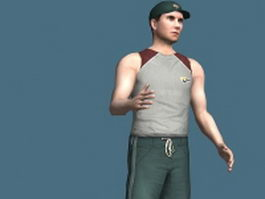 Baseball player rigged 3d model