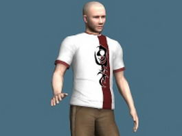 Sportive young man rigged 3d model