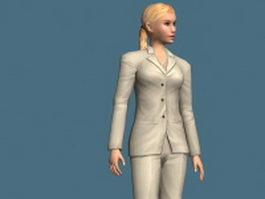 Blonde business woman rigged 3d model