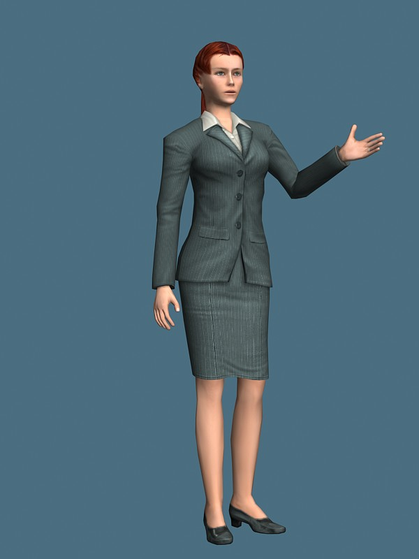 Rigged Business Woman In Suit Dress 3d Model 3ds Max Maya