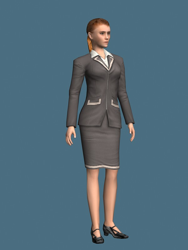Young Business Woman Standing Amp Rigged 3d Model 3ds Max