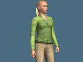 Casual woman standing & rigged 3d model