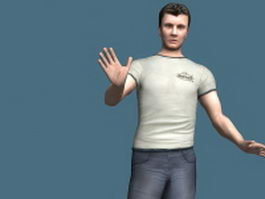 Casual man standing & rigged 3d model