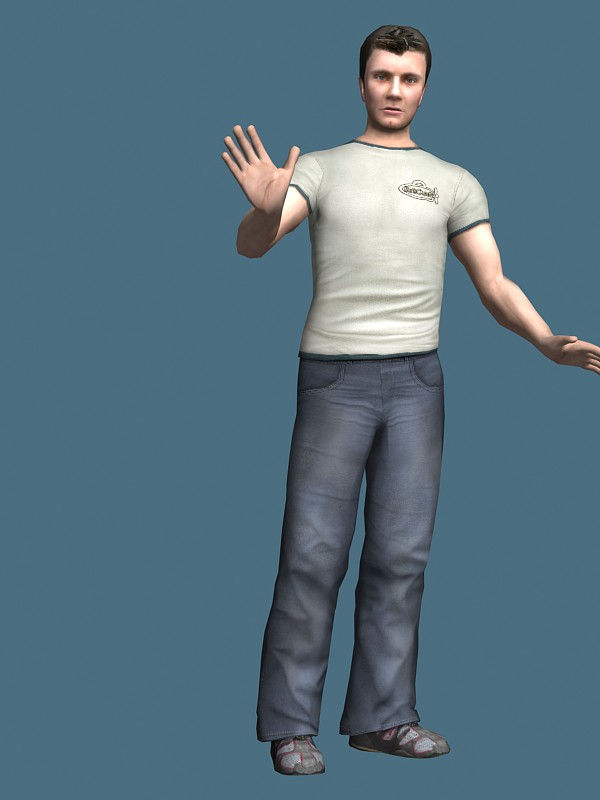 Casual man standing & rigged 3d model - CadNav