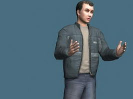 Man in jacket rigged 3d model