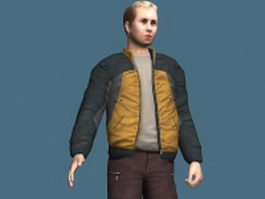 Man in jacket standing & rigged 3d model