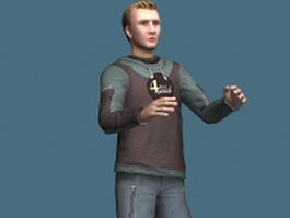 Young man in sportswear 3d model