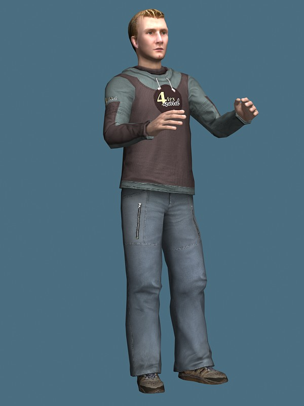 Young man in sportswear 3d model 3ds max,Maya files free