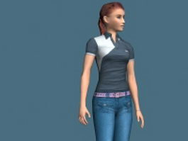 Slim girl rigged 3d model