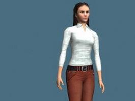 Beautiful Asian girl rigged 3d model
