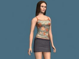 Woman in tank top and skirt 3d model