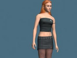 Hot girl in tube top 3d model