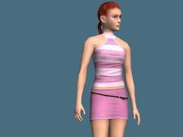 Red hair woman rigged 3d model