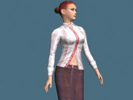 Sexiest business woman rigged 3d model