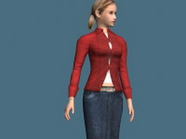 Fashion woman rigged 3d model