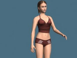 Underwear woman rigged 3d model