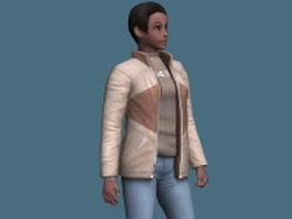 Black woman in casual clothes rigged 3d model