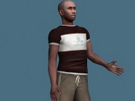 Sports black man rigged 3d model