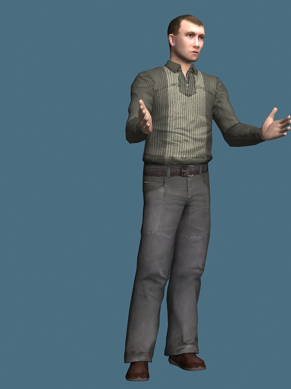 Casual man rigged 3d model 3ds max,Maya files free ...