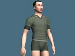 Asian man in underwear set rigged 3d model