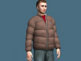 Man in winter jacket 3d model