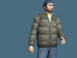 Young man posing in winter 3d model
