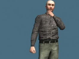 Old man in casual clothes rigged 3d model
