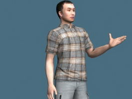 Confident young man rigged 3d model