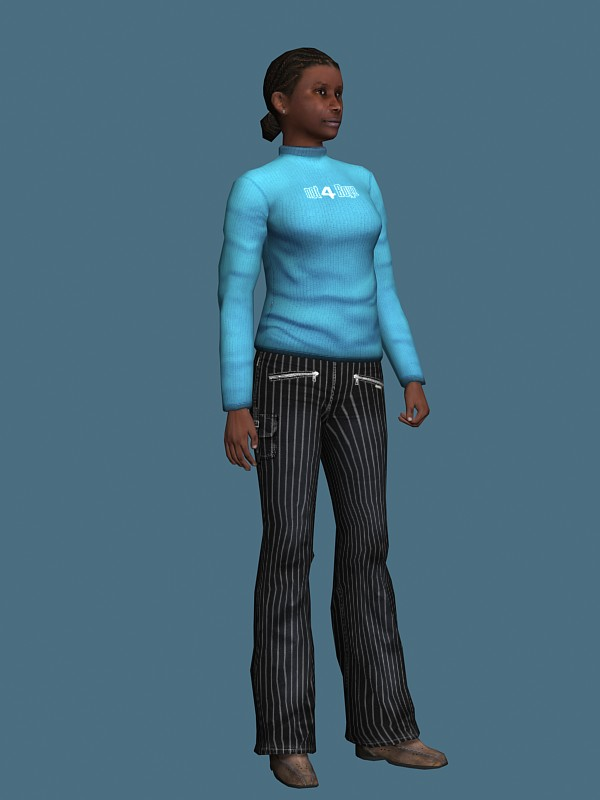 Black Woman Standing Amp Rigged 3d Model 3ds Max Maya Files