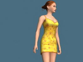 Hot girl standing & rigged 3d model