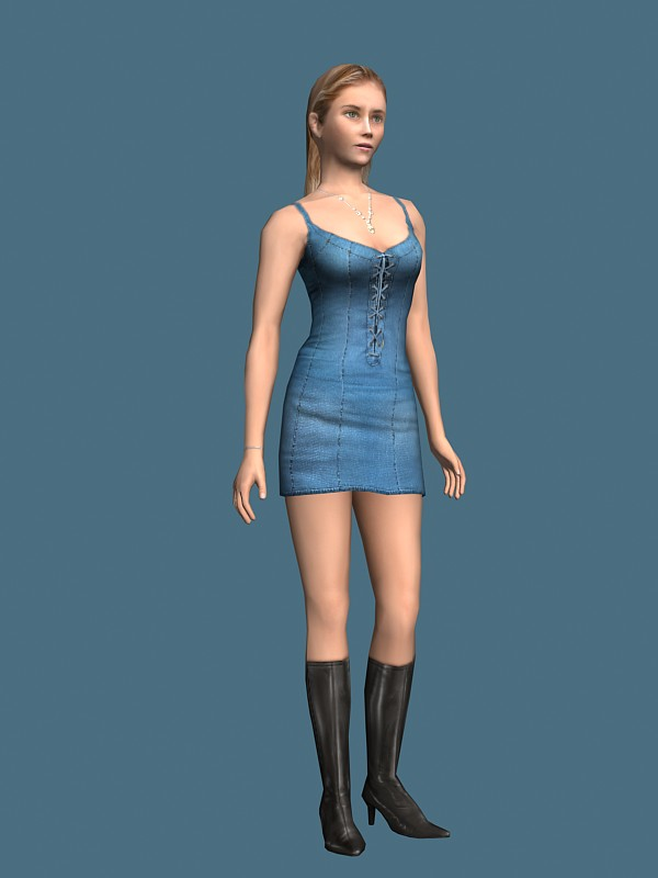 Red Dress Girl 3d model 3ds Max files free download
