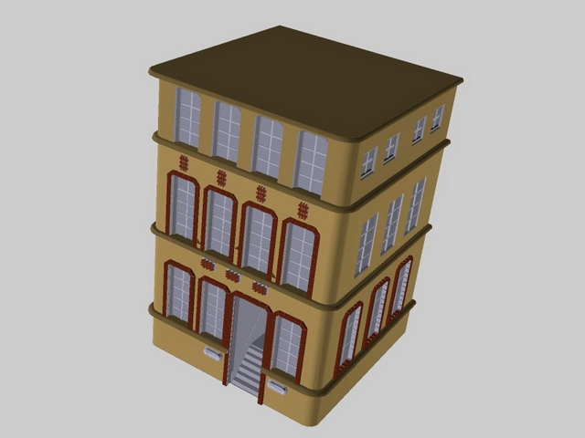 Great Small Old Apartment Building 3D Model