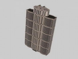 Multi-story apartment block 3d model