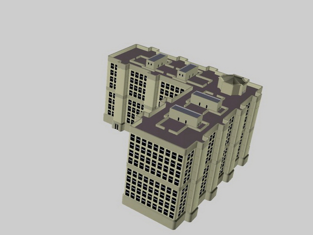 L shaped apartment building 3d model 3d studio lightwave L shaped building