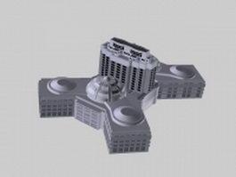 Modern factory buildings 3d model