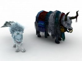 Fantasy cattle and fox 3d model