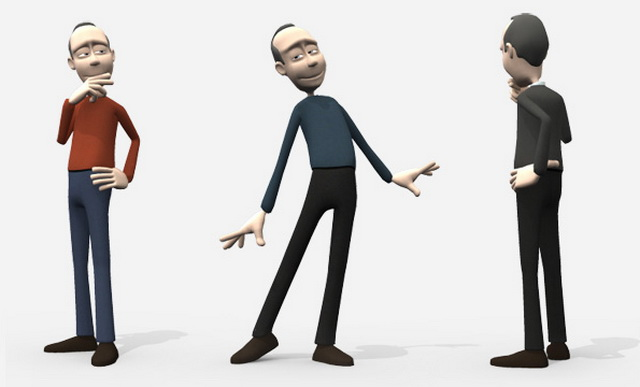 3d Character Design Software Free Download : Cartoon man animated rigged d model maya files free