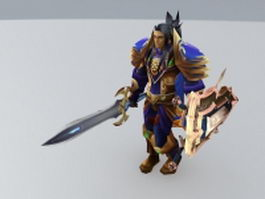 King Varian Wrynn rigged & animated 3d model