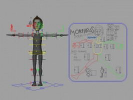 Rigged cartoon man 3d model