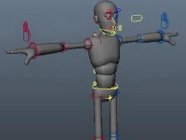 Rigged cartoon humanoid 3d model