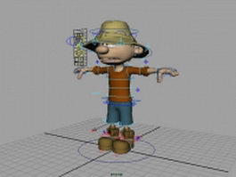 Rigged cartoon boy 3d model