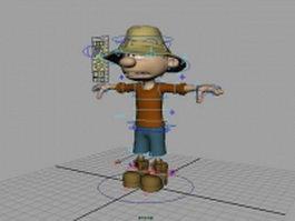 Rigged cartoon boy 3d model