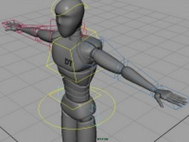 Human robot rigged 3d model