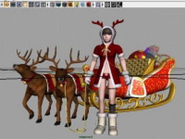 Christmas girl with sleigh 3d model