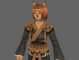 Fox girl anime character 3d model